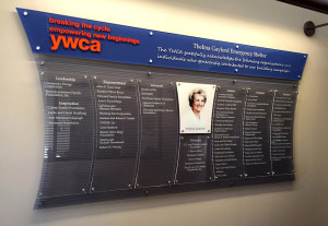 YWCA donor plaque